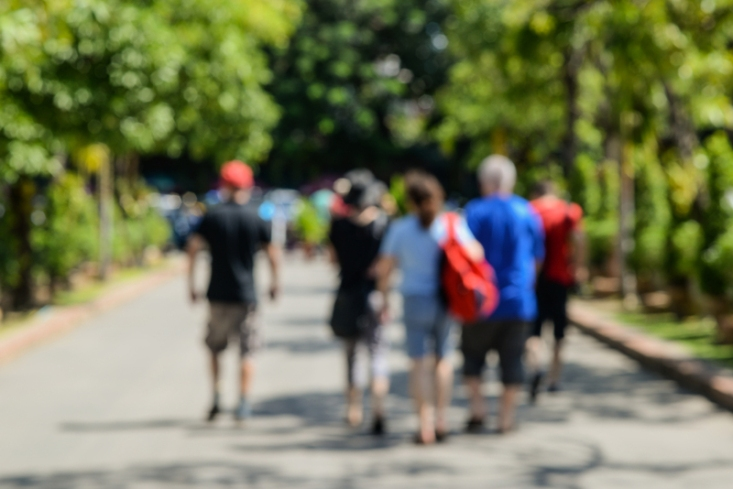 People walking tour,picture is blurred.